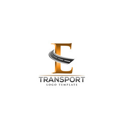 e letter road construction creative logo vector image