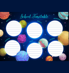 Education school timetable with fantasy planets vector