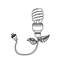 energy-saving bulbs with power cable icon vector image