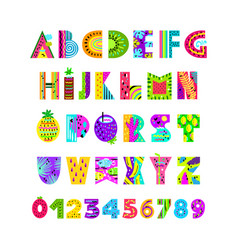 english alphabet in summer style vector image