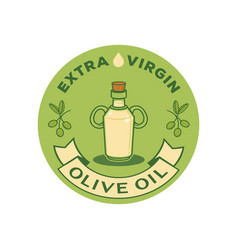 Extra virgin olive oil logo with glass bottle vector