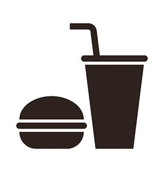 Fast food Hamburger and drink icon vector