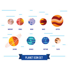 Flat icon set of solar system planets vector