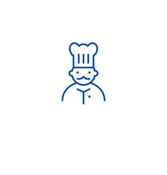 french chef line icon concept french chef flat vector image