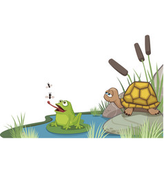 frog and turtle at the pond corner design vector image