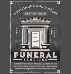 Funeral service company family burial crypt tomb vector