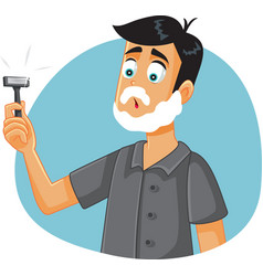 Funny man ready to shave holding a razor vector