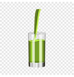 glass of kiwi juice mockup realistic style vector image