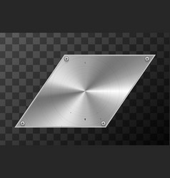 glossy metal industrial plate in parallelogram vector image