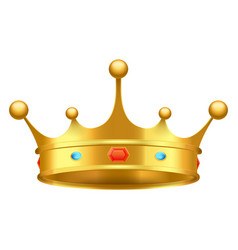 golden crown with red and blue stones close-up vector image