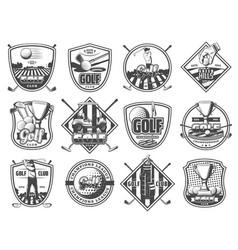 golf sport club championship heraldic icons vector image
