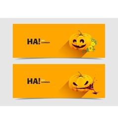 Halloween pumpkin with autumn flowers vector