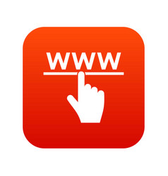 hand cursor and website icon digital red vector image