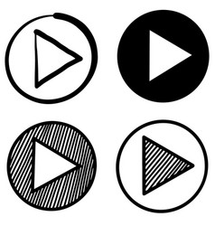 hand drawn doodle style player button icon vector image