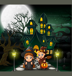 Happy couple witch in front of the haunted house w vector