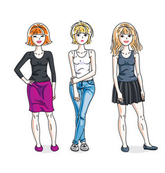 Happy young women posing in stylish casual vector