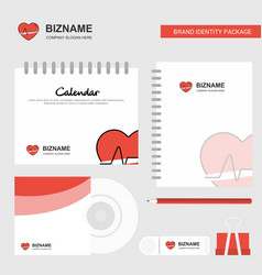heart beat logo calendar template cd cover diary vector image