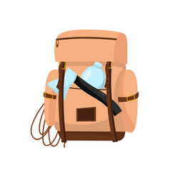 hiking bag with rope bottle of water and ax vector image