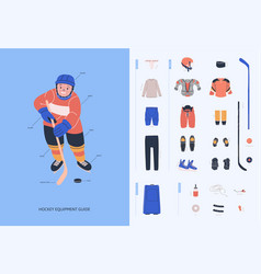 Ice hockey equipment guide for young male players vector