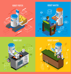 isometric robotic restaurant icon set vector image