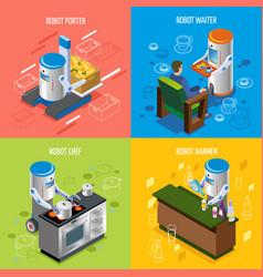 Isometric robotic restaurant icon set vector