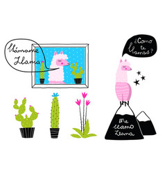 llama designs with cactus and mountains hand drawn vector image