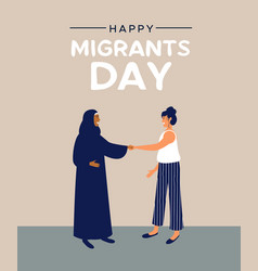 Migrants day card of mix cultures friends together vector