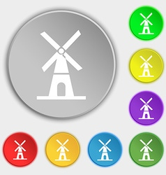 Mill icon sign Symbol on eight flat buttons vector image