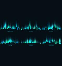 neon ity skyline abu dhabi dubai riyadh doha vector image