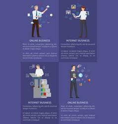 online business set internet vector image