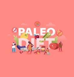 Paleo diet healthy eating concept cave people and vector