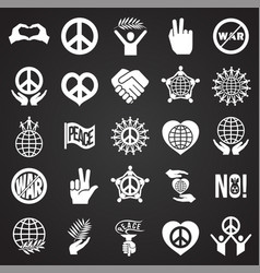 Peace icons set on black background for graphic vector