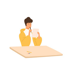 pensive student guy holding paper sheet and pen vector image