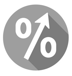 percent increase icon of set material design vector image