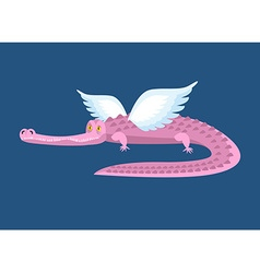 Pink crocodile with wings fantastic animal good vector