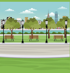 Public park with bench river city vector
