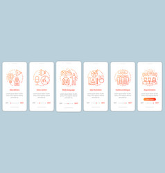 Public speaking tips onboarding mobile app page vector