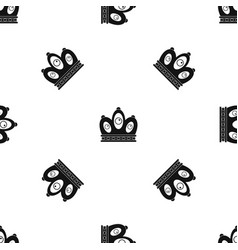 Queen crown pattern seamless black vector