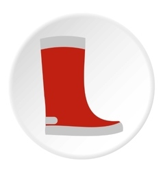 Red rubber boot icon flat style vector image