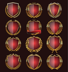 Red shields collection vector