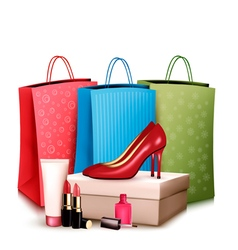 Red shoes and cosmetics with colorful shopping vector