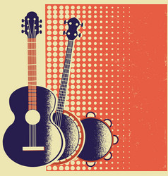 retro music poster background with musical vector image