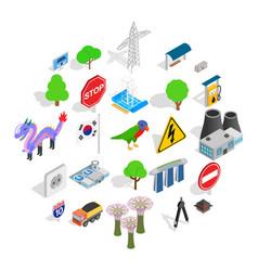 roadside icons set isometric style vector image