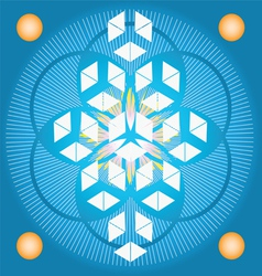 Sacred Geometry flower of life blue seed vector image