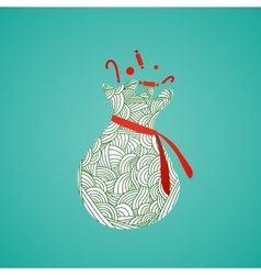 Santas sack with candy and abstract doodle pattern vector image