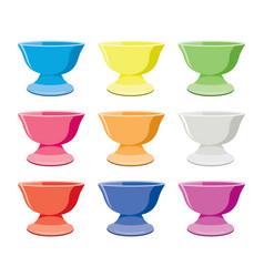 Set colorful ceramic bowls vector