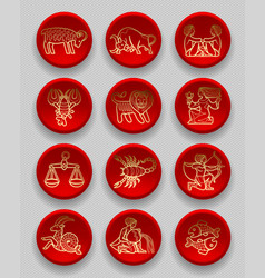 set of red round icons with gold linear zodiacal vector image