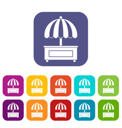shopping counter with umbrella icons set flat vector image