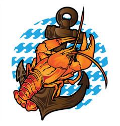 Shrimp lobster steering wheel seafood ocean logo vector