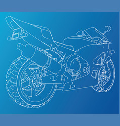 Sport motorbike technical wire-frame vector